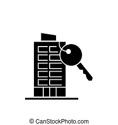 apartment house with key icon, vector illustration, black sign on isolated background
