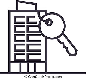 apartment house with key vector line icon, sign, illustration on background, editable strokes