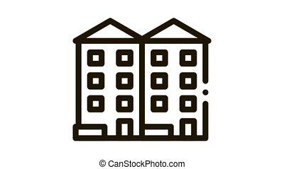 apartment houses Icon Animation. black apartment houses animated icon on white background