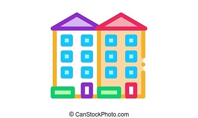 apartment houses Icon Animation. color apartment houses animated icon on white background