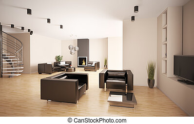 Apartment interior 3d - Apartment with stair and fireplace...