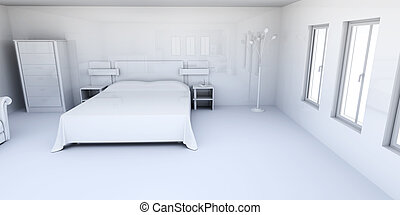 Apartment Interior - 3D rendered Illustration. Interior...