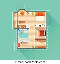 Apartment Interior Design Project View From Above