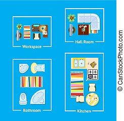 Apartment Interior Design Vector Illustration