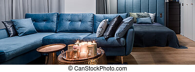 Apartment interior in blue