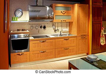 Apartment kitchen wide - Modern wooden kitchen counter in...
