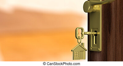Apartment or home doorway with open door, orange background. 3d illustration