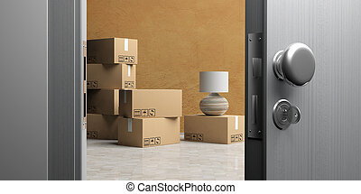 Apartment or office doorway with open door, moving boxes on the floor. 3d illustration