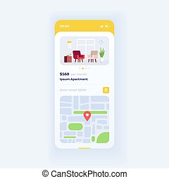 Apartment parameters smartphone interface vector template. ...