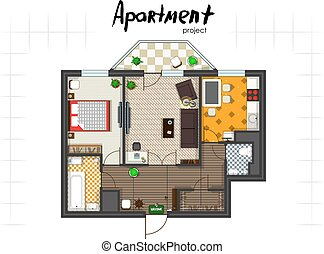 apartment project top view - Apartment project. Floor plan...