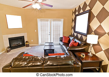 Apartment Room With Blank Pictures