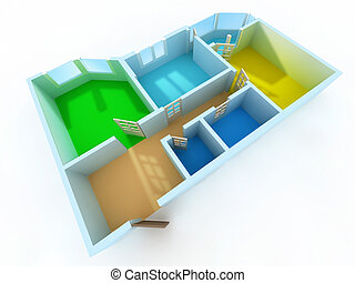 Apartment - Schematic three-dimensional model of an...