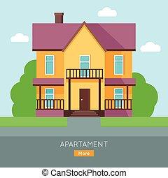Apartment Vector Web Banner in Flat Design.