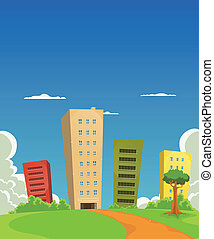 Illustration of a group of cartoon residential and office building tower