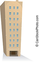 Illustration of a cartoon residential building tower