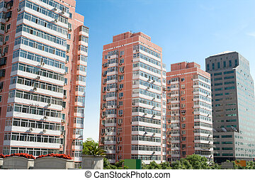 Apartments Building Towers Beijing, China Blue Sky -...