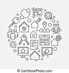 Apartments for rent round illustration - vector thin line...