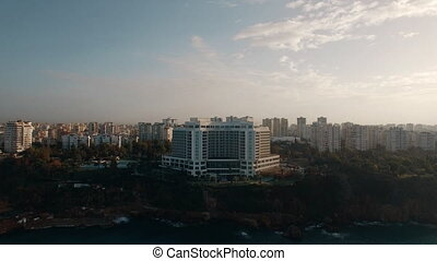Apartments on the edge of a hill - Aerial shot of coastal...