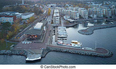 Apartments, part of Gashaga Pier, one of the most exclusive family housing projects in Sweden designed in 2001 by Sandell Sandberg Architects.