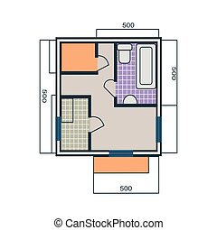 Apartments Plan Vector Illustration in Flat Style.