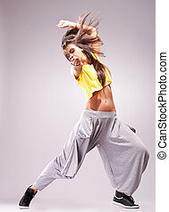 apasionado, mujer, bailarín, joven