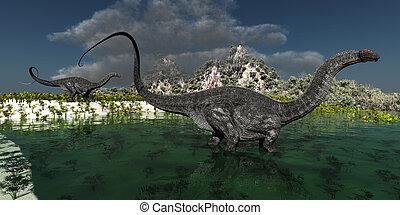 Apatasaurus - Two Apatasaurus dinosaurs wonder through a...