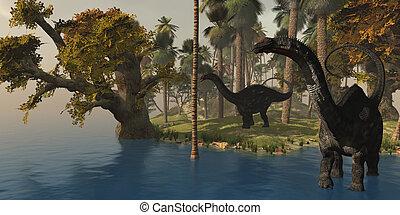 Apatasaurus Island - Two Apatasaurus dinosaurs visit an...