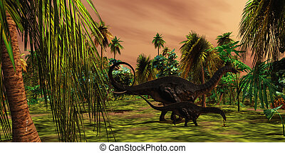 Apatasaurus Jungle - An Apatasaurus mother escorts her...