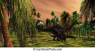 Apatasaurus Jungle - An Apatasaurus mother escorts her...