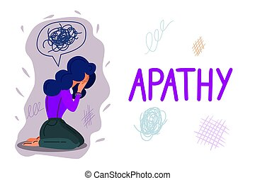 Apathy hand drawn banner vector template. Mental problem, indifference cartoon poster concept