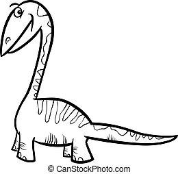 apatosaurus dinosaur coloring page - Black and White Cartoon...