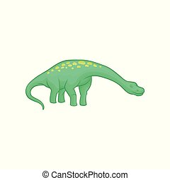 Apatosaurus dinosaur with long neck, tail and yellow spots...