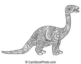 Apatosaurus dragon coloring vector for adults