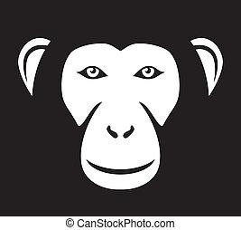 (ape, κεφάλι , κεφάλι , μαϊμού , face)