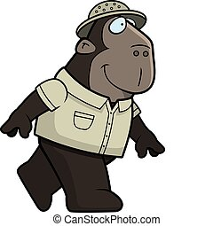 Ape Explorer - A happy cartoon ape explorer walking and...