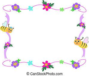 ape, fiore, e, nastro, cornice