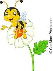 ape, fiore, felice, cartone animato