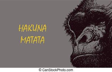 Ape head in black and white.