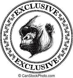 Ape head logo in black and white.