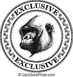 Ape head logo in black and white.