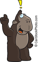 Ape Idea - A happy cartoon ape with an idea.