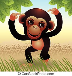 Ape - Illustration of a cute baby ape, more animals in my...