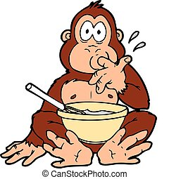 ape mix - An ape stirring food in a large bowl tasting...