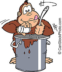 ape pot stir - An ape stirring food in a large cook pot