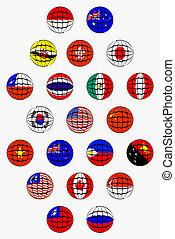 APEC COUNTRIES - National flags and colors of member...