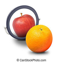 apelsin, äpple, tittande spegel