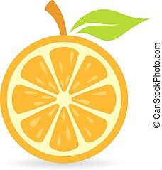 apelsin andel, vektor, ikon