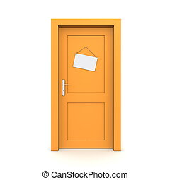 apelsin, attrapp, dörr, stängd skylt