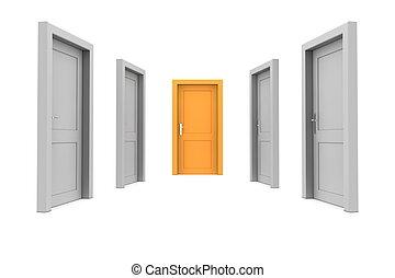 apelsin, dörr, välja