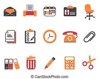 apelsin, dokument, sätta, ämbete ikon